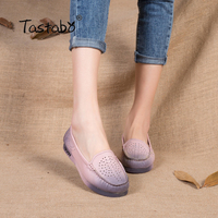 Women Shoes Genuine Leather Flat Handmade Outsole Comfortable Casual Shoes Women Flats Soft Single Shoes Solid