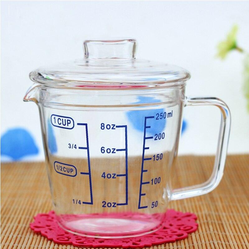 Kan Glas In De Magnetron.Us 11 55 Glazen Maatbeker Met Een Schaal Glas Melk Transparante Warmte Bakken Kan Magnetron Rood Melk Cup Keuken Meten Cups Voor Bar In Glazen