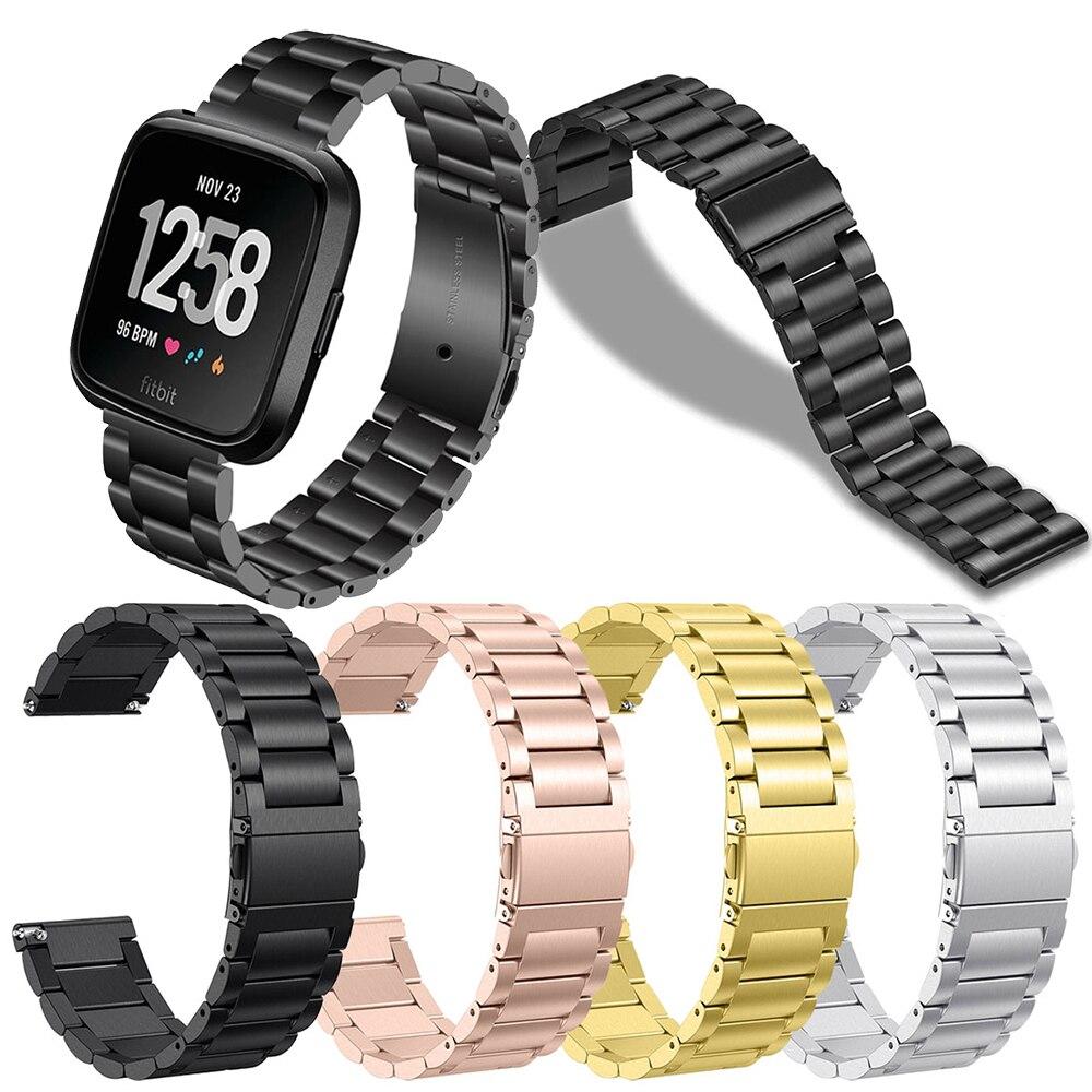 Ремешок из нержавеющей стали для Fitbit Versa Смарт-часы металлический браслет застежка с петлями для Fitbit Versa 2 фитнес-трекер