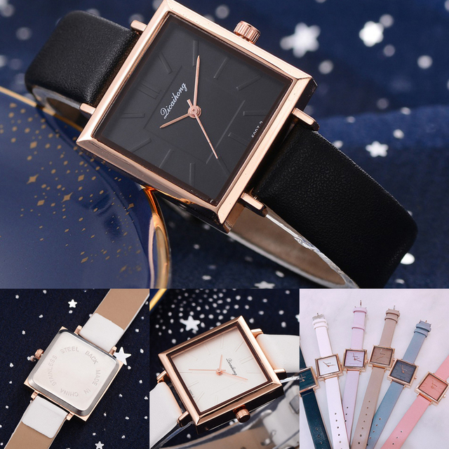 Square Women Bracelet Watch Contracted Leather Crystal WristWatches