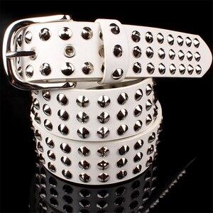 Image 2 - Punk style Big metal rivet belt women Round rivets Spike sequins belt punk Simple decorative waistband belt for men
