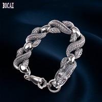 S925 Silver Jewelry Hip hop Men's Dragon Bracelet Thai silver men's bracelet