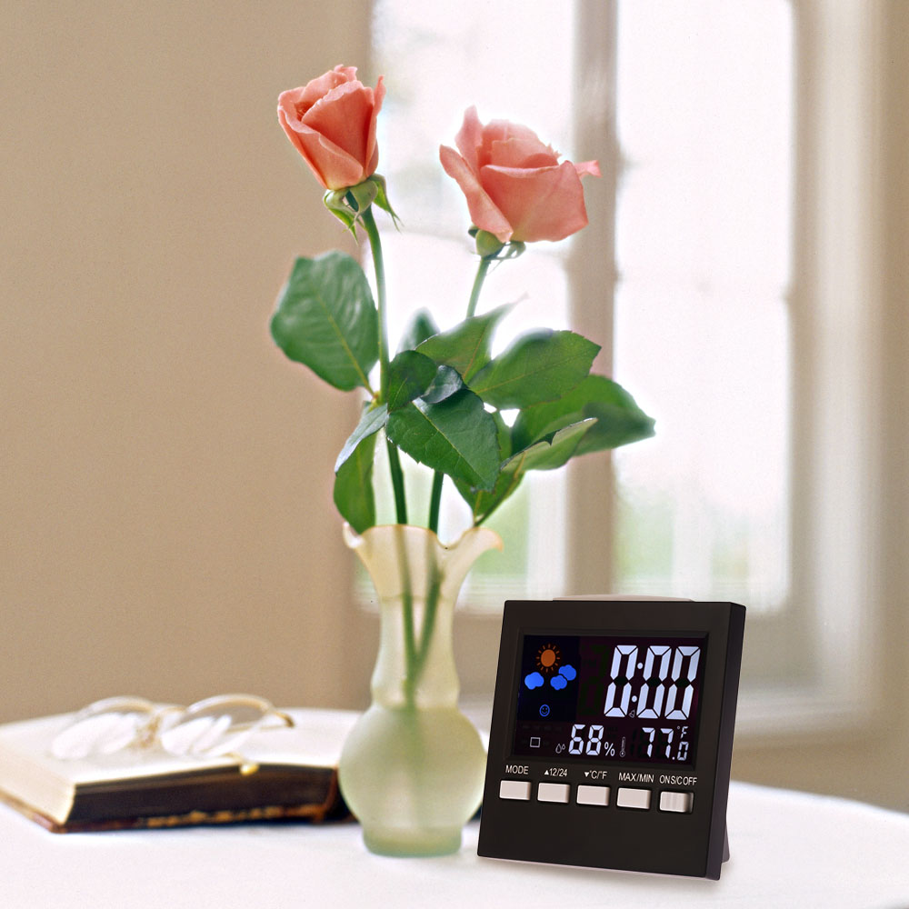 Multi-functional Digital Thermometer Hygrometer Colorful LCD Clock Alarm Snooze Function Calendar Weather Forecast Display digital lcd thermometer projection weather station temperature calendar display dual alarm clock usb charging function