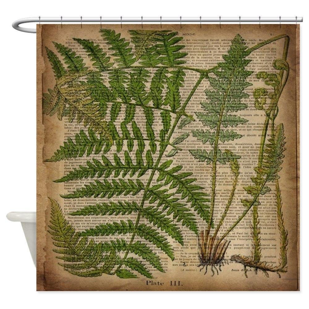 Botanical Fern Leaves Decorative Fabric Shower Curtain