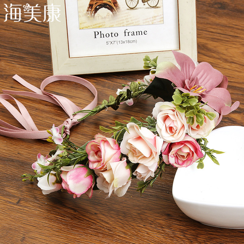 Haimeikang Fashion Boho Lily Flower Headband 4 Colors 2019 New Vacation Beach Floral   Headwear   for Women Beauty Hair Accessories