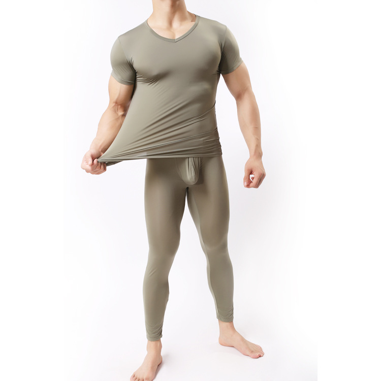 Sex Costumes For Men Pyjama Sleepwear Ultra-thin Tight Sleep Set Mens Black White Silk Sexy Male Pajamas Suit