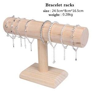 Image 2 - 1Pcs עץ צמיד שרשרת שעון בעל T בר rack תכשיטי תצוגה ארגונית stand מחזיק Packgaing מדף