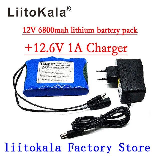 Портативный суперперезаряжаемый комплект литий ионных батарей Liitokala, постоянный ток 12 В 12,6 В, аккумулятор 6800 мАч, камера видеонаблюдения