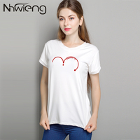 2017 High Quality Kawaii Women V-neck Short Sleeve Number Print Blouse Shirt Femme Blusas Mujer Tumblr Tops Clothes White Shirts