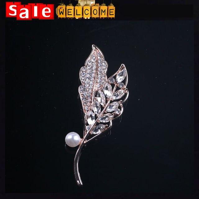 2c77cfab4 Feather Leaf Flower Suit Crystal Imitation Pearl Broaches Brooch,Golden  Wedding Flower Brooch Lapel Pin