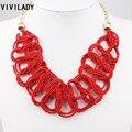 VIVILADY Trançado Contas Declaração Collar Mulheres Colar Banhado A Ouro Cadeia Vermelho Moda Jóias