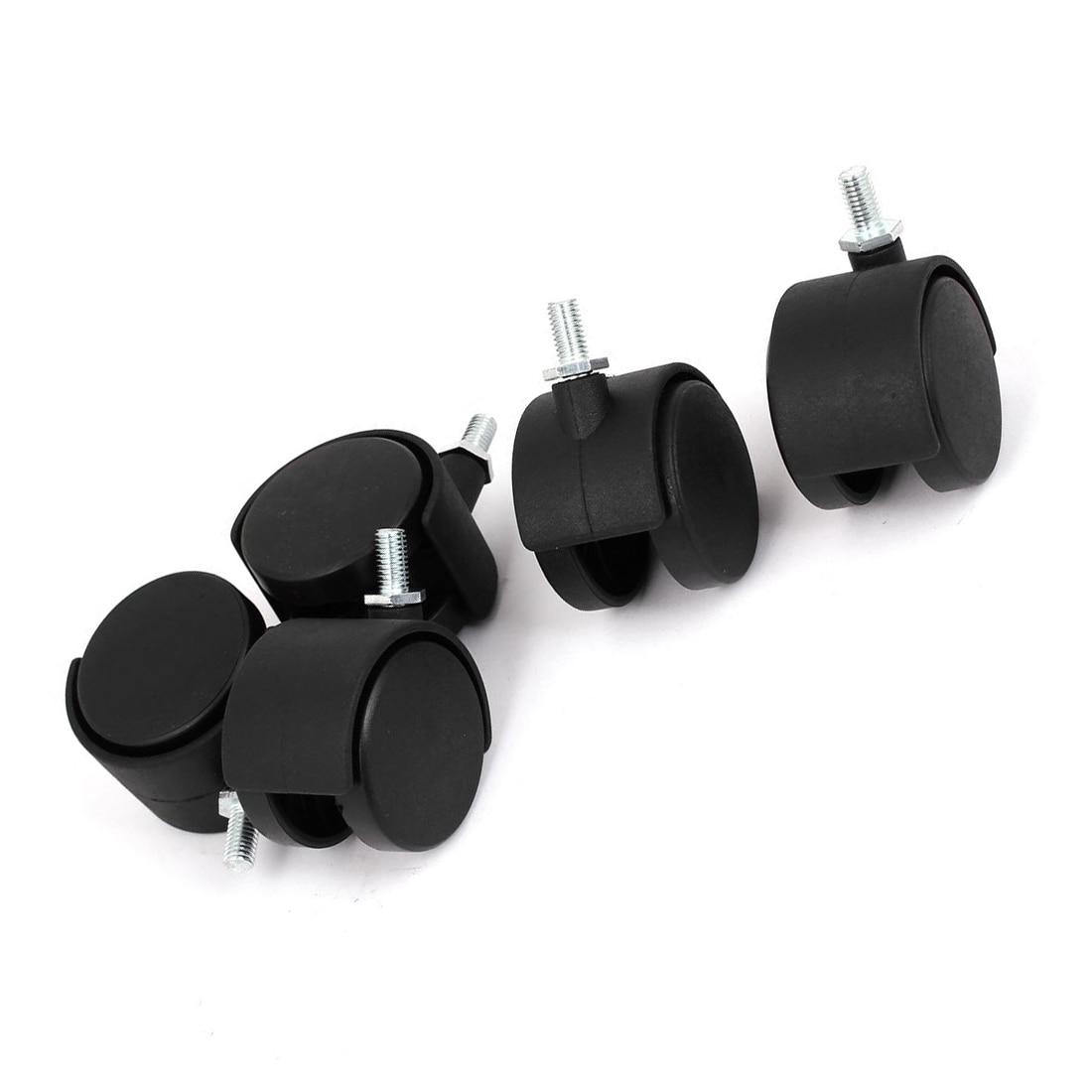 Tige filetée utile 10mm 2 pouces Dia roulette pivotante 5 pièces noir