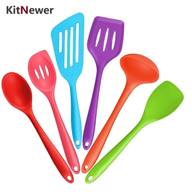 KITNEWER Colorful Silicone Cooking Tools Silicone Kitchen Utensils Set  Cooking Utensil Sets