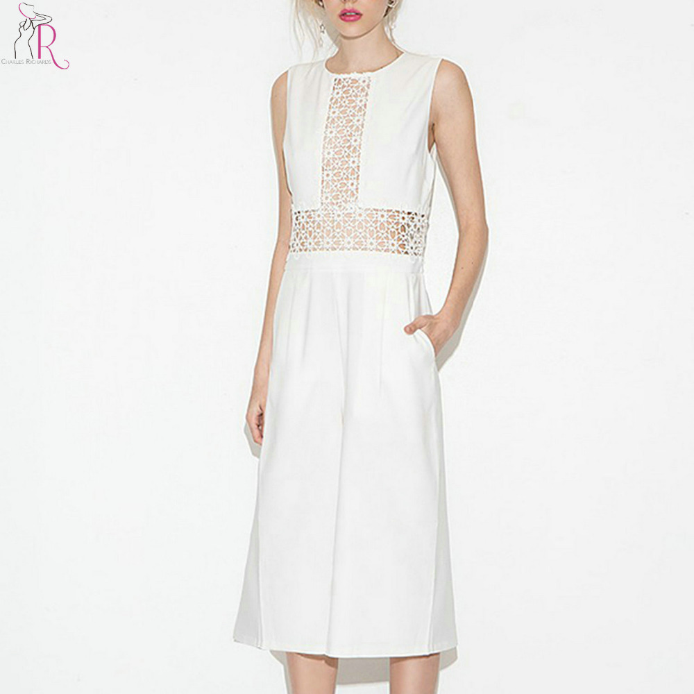White Semi Sheer Lace Panel Sleeveless Wide Leg Jumpsuit Women Hollow Out Waist Round Neck Calf Length Offiice Ladies Romper