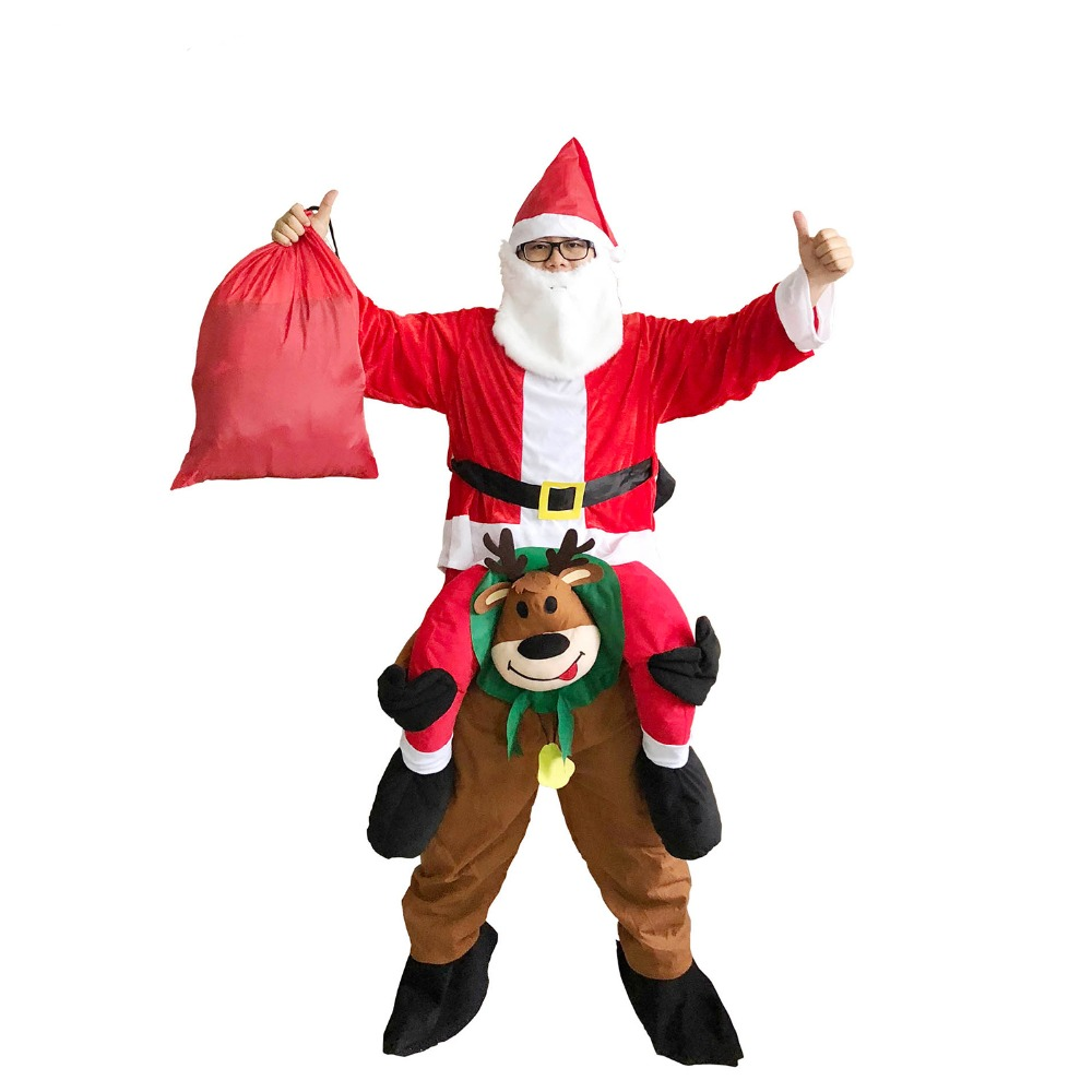 Adult Christmas Santa Claus Costume Ride on Deer Santa Claus Costume Halloween Cosplay Costumes for Women Carnival Purim Costume
