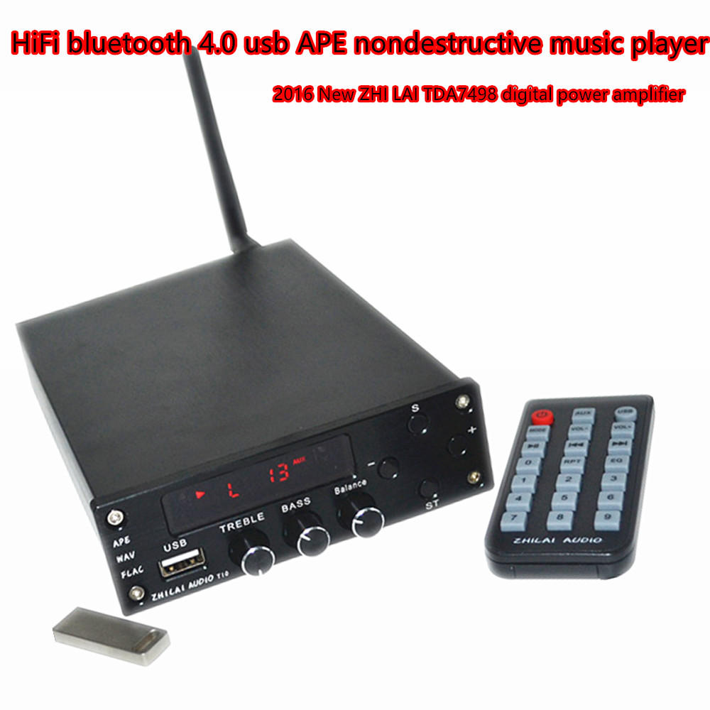 USB MP3 music player Digital HIFI Power Amplifier Bluetooth 4.0 2x70W Audio AMP Dual Channel + Power Supply ZHILAI T10 new car bluetooth hifi bass power amp digital auto amplifier stereo usb tf radio audio mp3 music with remote 220v