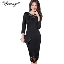 Vfemage Womens embroidery Elegant Vintage Wear To Work Office Party Special Occasion Vestidos embroidered Bodycon Dress 4232