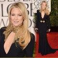 Kate Hudson globos de oro 2013 Red Carpet sirena alta de cuentas escote vestidos de noche Designer Celebrity Dress envío gratis