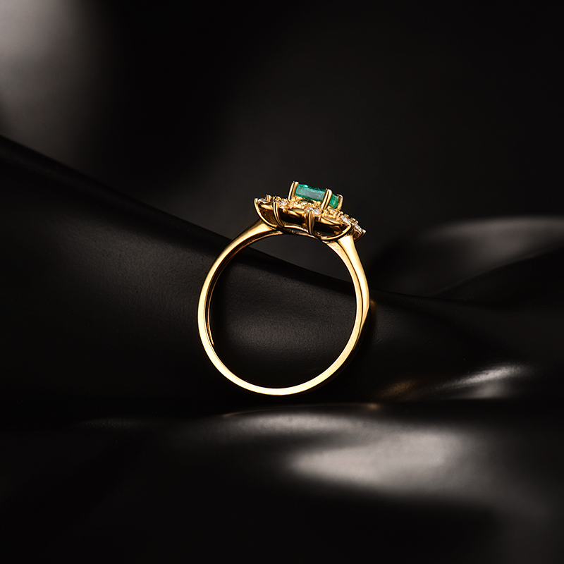 special design natural diamond colombia emerald ring real 14kt
