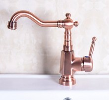 цена на Antique Red Copper Brass Single Handle Square Bathroom Kitchen Basin Sink Faucet Mixer Tap Swivel Spout Deck Mounted mnf254
