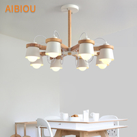 AIBIOU Wooden Chandelier For Living Room Bedroom Lustre Wood Chandelier Lighting Ceiling Mounted E27 Hanging Lighting
