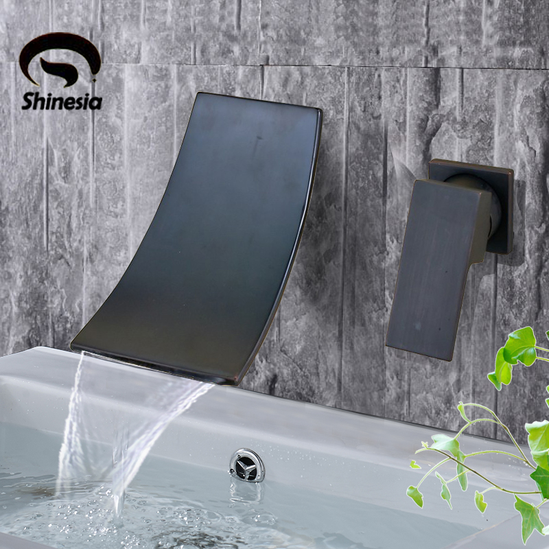 Chrome Black Bronze Wall Mounted Bathroom Faucet Waterfall Basin Faucet Single Handle Mixer Tap Concealed Bathroom