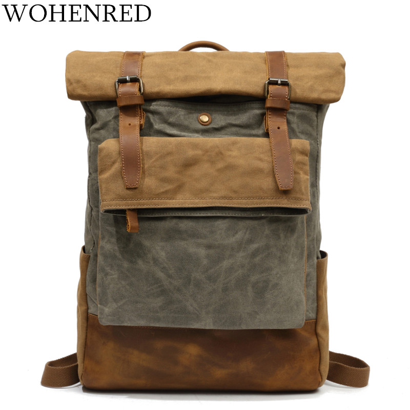 Daypacks Vintage Canvas Backpack School Boys Designe Waterproof Travel Bag Male Back Pack Bagpack