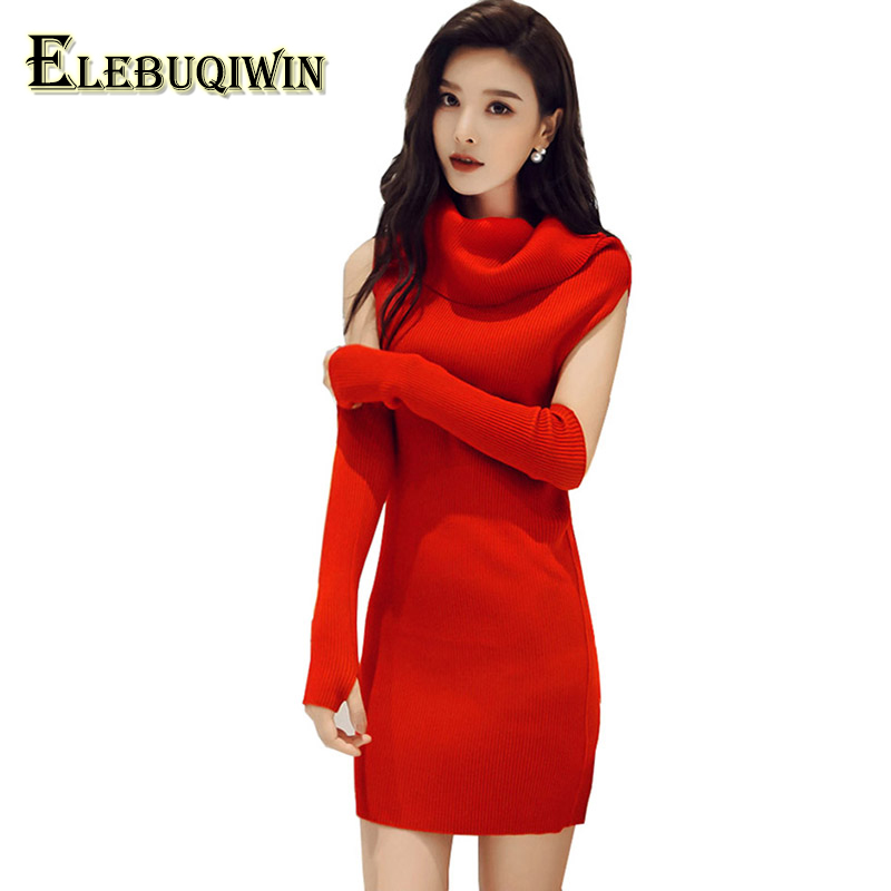 2018 Spring Autumn New Sweater Dresses Night Red Nightclub Sexy Womens High-Collar Middle Waist Hedging Slim Female Dress LS60