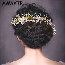 AWAYTR Hair Ornaments Pearl Headwear for Bridal Leaf Hairbands Luxury Hair Jewelry Tiaras Woman Wedding Hair Accessories