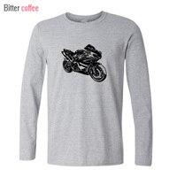 BITTER COmens T Shirts Fashion Swag Men Motorbike Model Printing Long Sleeve T Shirt Mens T
