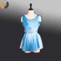 FltotureAT1273 Голубой шифон юбка девушки веревка галстук пояс классическое балетное представление одежда на заказ танец короткие юбки