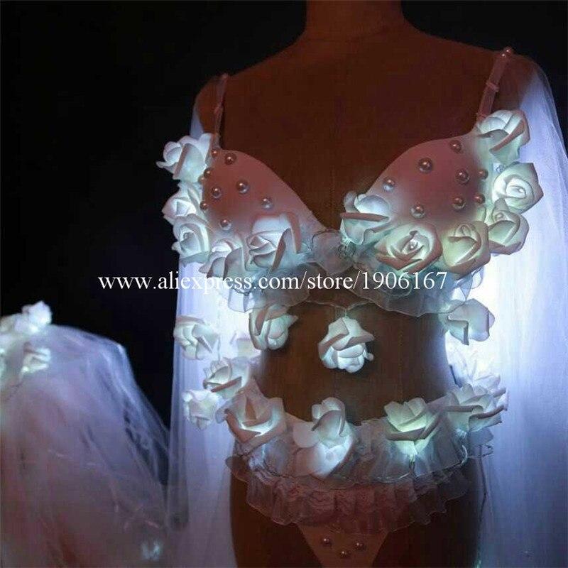Nouveau Design Led Sexy fille femmes soutien-gorge robe ailes vêtements spectacle scène Performance Sexy robe livraison gratuite - 4