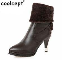 Размер 30-52 женщин полусапожки на высоком каблуке короткие сапоги зима теплая середине теленка загрузки pionted toe качество botas классика обувь обувь P21137
