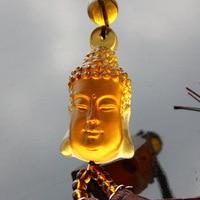 Spring genuine car accessories Buddha head ancient glass car ornaments peace pendant Buddhism gift