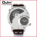OULM Russian Army Military Dual Time Movement Mens Leather Quartz Wrist Watch 9591