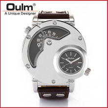 OULM Ejército Ruso Militar Dual Time Movimiento Mens Cuarzo Reloj de pulsera de Cuero 9591