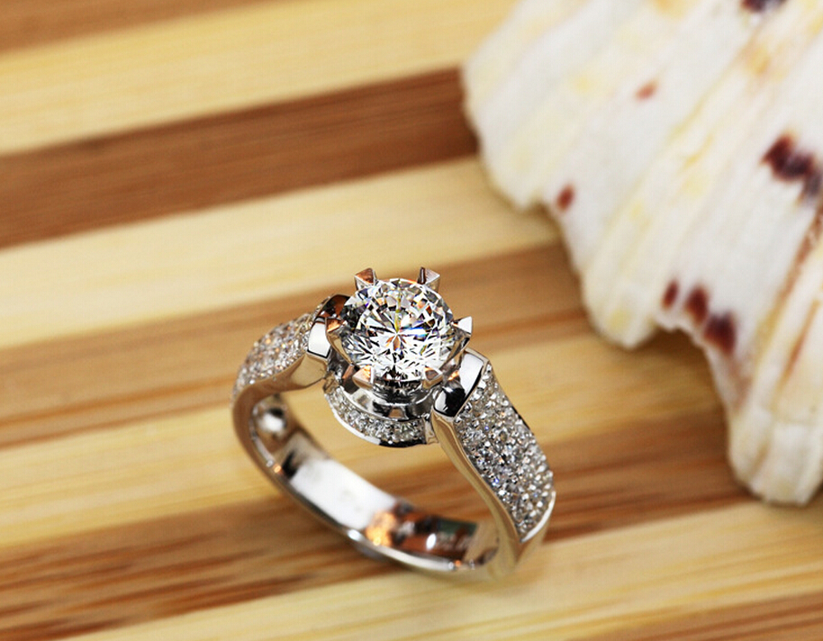 1 carat SONA synthetic diamond sterling silver love wedding engagement ring bands name engraving rings (DFE)