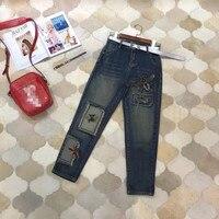 Женские модные джинсы 2018 взлетно посадочной полосы Элитный бренд Европейский дизайн вечерние Стиль Женская одежда WD12321