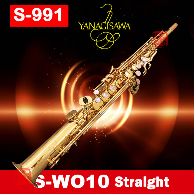 Japan saxophone Soprano S-991 S-WO10 B-flat Split sax Soprano Gold Lacquer musical instruments with case free shipping