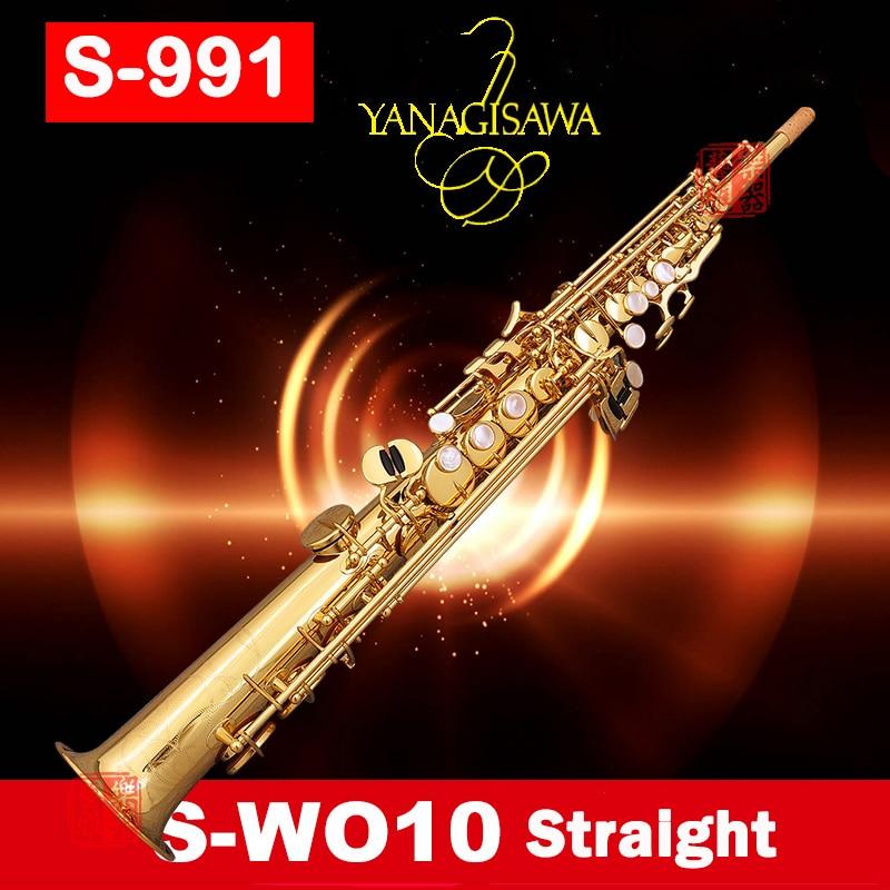 Professionnel Japon YANAGISAWA S991 S-W010 B (B) Split Soprano saxophone Laque D'or sax instruments de musique avec le cas mouthpiec