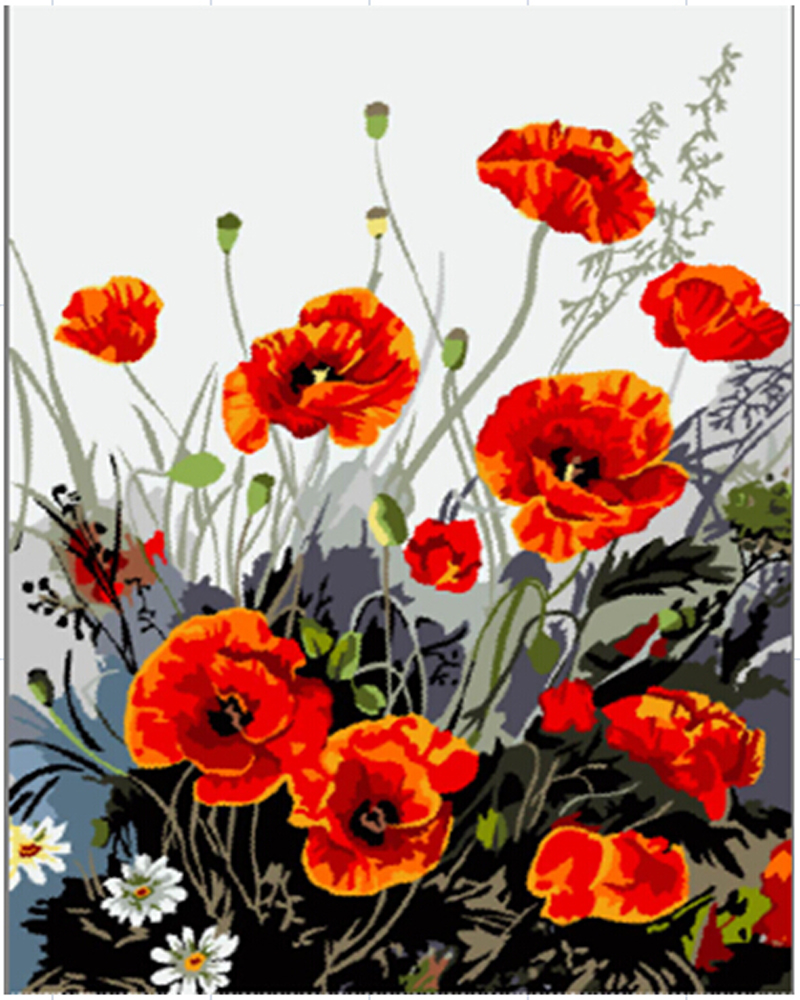 Hot Sale Handwork Gift Red Poppies Flower Picture On Canvas Acrylic