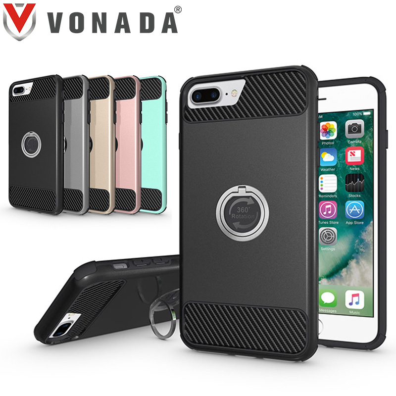 Vonada Anti fall Case for Apple iPhone 7 7 Plus Metal Ring 360 Degree Rotation Holder TPU PC Hybrid Shockproof Phone Case Cover