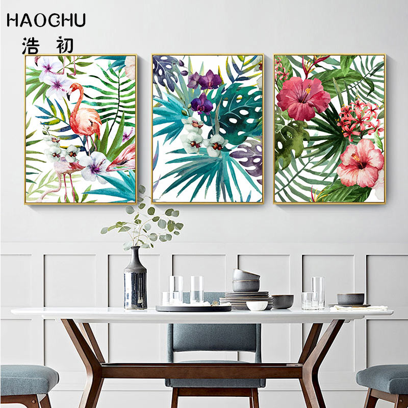 Image 5 - HAOCHU Tropical Forest Flower Leaves Watercolor Plant Flamingo Art Poster Print Picture Wall Decor Canvas Painting Home Decor-in Painting & Calligraphy from Home & Garden