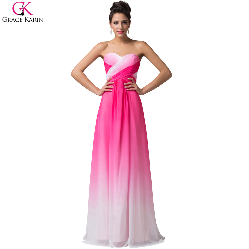Ombre Rainbow Prom Dresses Long Grace Karin Chiffon Royal Blue Mint Green Red Sweetheart Prom Dress 2017 Party Formal Dress