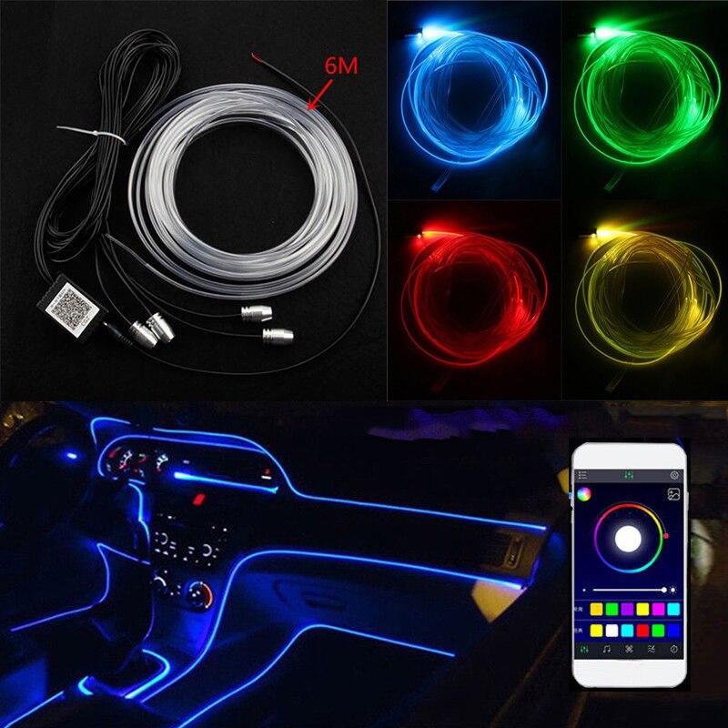 Niscarda 6 M Bluetooth APP contrôle actif EL néon fil bande lumière RGB LED décoratif tableau de bord porte atmosphère lumière