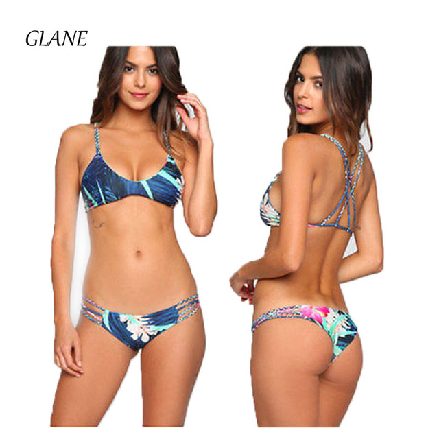 eb0dcb0e35 Women Palm Tree Bandage Bikini Set Push Up Padded Bra Print Swimsuit Women  Sexy Triangle Swimwear Bikini 2017 Bathing Suit