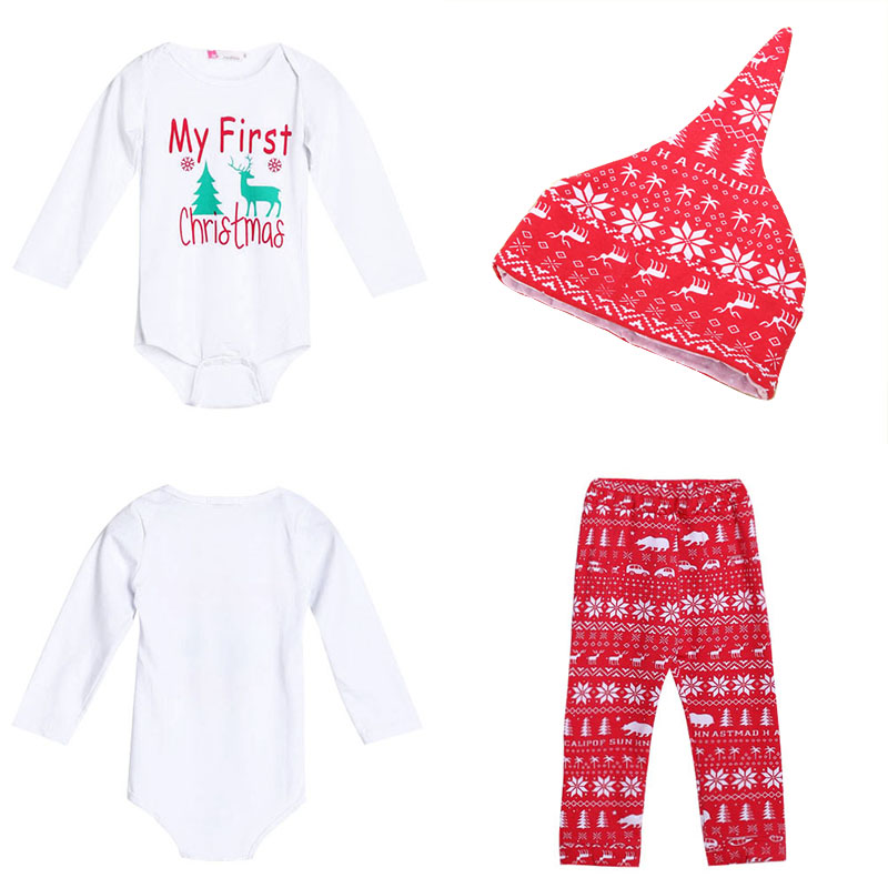 3pcs Cute Newborn Clothing Set Baby Boy Girls First Christmas Clothes Infant Romper Pants Hat Outfit New Summer Baby Set
