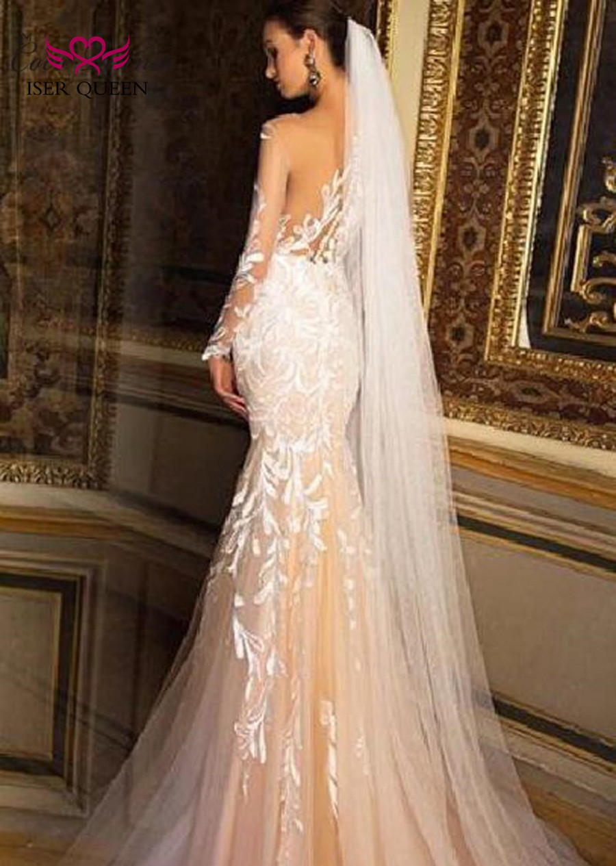 Long Sleeve Embroidery Bride Dress Court Train Style Wedding Dress Dubai Qualty Sexy Illusion Mermaid Wedding Dresses 2019 W0218