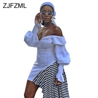 Black White Stripe Patchwork Sexy Dress Women Slash Neck Puff Sleeve Bandage Mini Dress Spring Off Shoulder Backless Party Dress