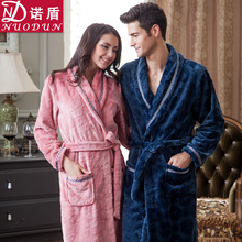 Kimono Dressing Gown Robes Autumn And Winter Lovers Coral Robe Female Male Bathrobe Thickening Long-sleeve Flannel Sleepwear